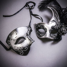 Black Silver Glitter Full Face Phantom Of The Opera & Silver Black Side Feather Glitter Couple Masks Set