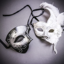 Black Silver Glitter Full Face Phantom Of The Opera & White Side Feather Glitter Couple Masks Set
