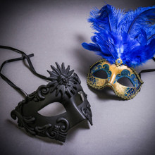 Black Roman Greek Emperor & Gold Mardi Gras Eye Mask with Top Blue Feather Couple Masks Set