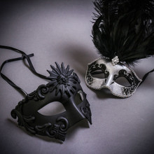 Black Roman Greek Emperor & Silver Mardi Gras Eye Mask with Top Black Feather Couple Masks Set