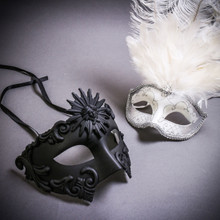Black Roman Greek Emperor & Silver Mardi Gras Eye Mask with Top White Feather Couple Masks Set