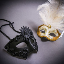 Black Roman Greek Emperor & Gold Mardi Gras Eye Mask with Top White Feather Couple Masks Set