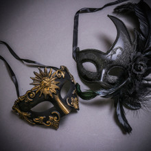 Black Roman Greek Emperor & Black Side Feather Glitter Couple Masks Set