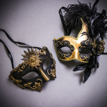 Black Gold Roman Greek Emperor & Gold Black Side Feather Glitter Couple Masks Set