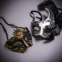Black Gold Roman Greek Emperor & Silver Black Side Feather Glitter Couple Masks Set
