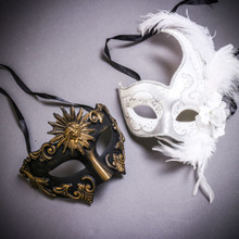 Black Gold Roman Greek Emperor & White Side Feather Glitter Couple Masks Set