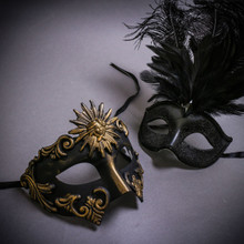 Black Gold Roman Greek Emperor & Black Mardi Gras Eye Mask with Top Feather Couple Masks Set