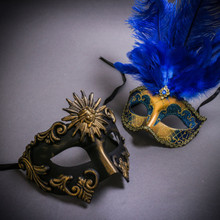 Black Gold Roman Greek Emperor & Gold Mardi Gras Eye Mask with Top Blue Feather Couple Masks Set