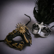Black Gold Roman Greek Emperor & Silver Mardi Gras Eye Mask with Top Black Feather Couple Masks Set