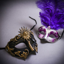 Black Gold Roman Greek Emperor & Silver Mardi Gras Eye Mask with Top Purple Feather Couple Masks Set