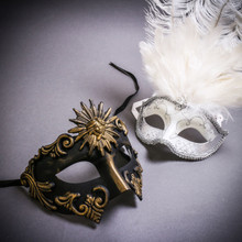 Black Gold Roman Greek Emperor & Silver Mardi Gras Eye Mask with Top White Feather Couple Masks Set