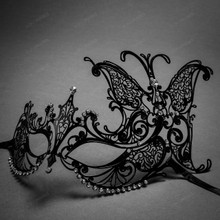 Butterfly Laser Cut Metal Venetian Masquerade Silver Rhinestone Mask - Black