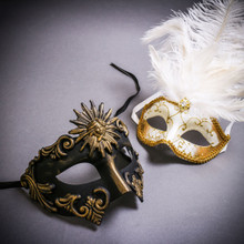 Black Gold Roman Greek Emperor & Gold Mardi Gras Eye Mask with Top White Feather Couple Masks Set