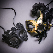 Black Roman Warrior Metallic & Gold Black Side Feather Glitter Couple Masks Set