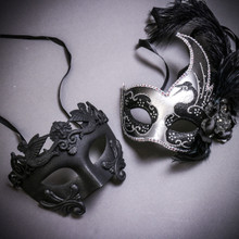 Black Roman Warrior Metallic & Silver Black Side Feather Glitter Couple Masks Set