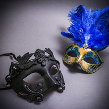 Black Roman Warrior Metallic & Gold Mardi Gras Eye Mask with Top Blue Feather Couple Masks Set