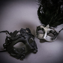 Black Roman Warrior Metallic & Silver Mardi Gras Eye Mask with Top Black Feather Couple Masks Set