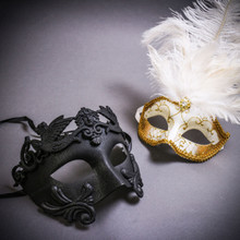 Black Roman Warrior Metallic & Gold Mardi Gras Eye Mask with Top White Feather Couple Masks Set