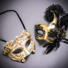 Silver Venetian Roman Warrior Greek Men & Gold Black Side Feather Glitter Couple Masks Set