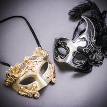 Silver Venetian Roman Warrior Greek Men & Silver Black Side Feather Glitter Couple Masks Set
