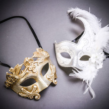 Silver Venetian Roman Warrior Greek Men & White Side Feather Glitter Couple Masks Set