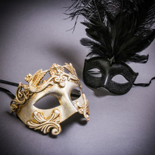 Silver Venetian Roman Warrior Greek Men & Black Mardi Gras Eye Mask with Top Feather Couple Masks Set