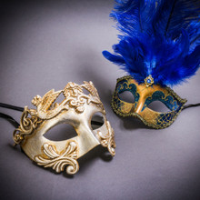 Silver Venetian Roman Warrior Greek Men & Gold Mardi Gras Eye Mask with Top Blue Feather Couple Masks Set