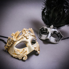 Silver Venetian Roman Warrior Greek Men & Silver Mardi Gras Eye Mask with Top Black Feather Couple Masks Set