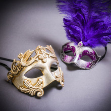 Silver Venetian Roman Warrior Greek Men & Silver Mardi Gras Eye Mask with Top Purple Feather Couple Masks Set