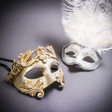 Silver Venetian Roman Warrior Greek Men & Silver Mardi Gras Eye Mask with Top White Feather Couple Masks Set