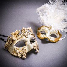 Silver Venetian Roman Warrior Greek Men & Gold Mardi Gras Eye Mask with Top White Feather Couple Masks Set