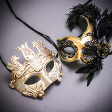 Silver Venetian Warrior Pegasus & Gold Black Side Feather Glitter Couple Masks Set