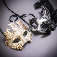 Silver Venetian Warrior Pegasus & Silver Black Side Feather Glitter Couple Masks Set