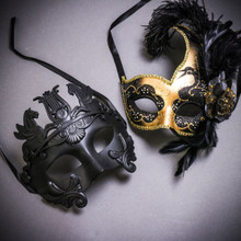 Black Roman Greek Emperor with Pegasus Horses & Gold Black Side Feather Glitter Couple Masks Set