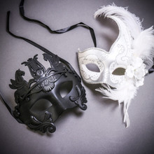 Black Roman Greek Emperor with Pegasus Horses & White Side Feather Glitter Couple Masks Set