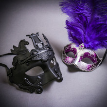 Black Roman Greek Emperor with Pegasus Horses & Silver Mardi Gras Eye Mask with Top Purple Feather Couple Masks Set