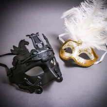 Black Roman Greek Emperor with Pegasus Horses & Gold Mardi Gras Eye Mask with Top White Feather Couple Masks Set