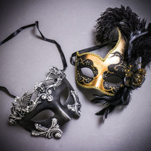 Black Silver Venetian Roman Warrior Greek Men & Gold Black Side Feather Glitter Couple Masks Set