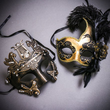 Black Gold Roman Greek Emperor with Pegasus Horses & Gold Black Side Feather Glitter Couple Masks Set