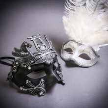 Black Silver Roman Greek Emperor with Pegasus Horses & Silver Mardi Gras Eye Mask with Top White Feather Couple Masks Set