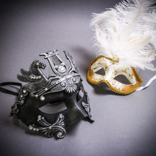 Black Silver Roman Greek Emperor with Pegasus Horses & Gold Mardi Gras Eye Mask with Top White Feather Couple Masks Set