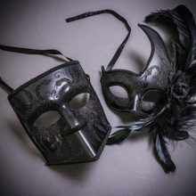 Black Glitter Full Face Bauta & Black Side Feather Glitter Couple Masks Set