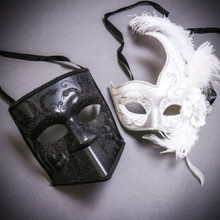 Black Glitter Full Face Bauta & White Side Feather Glitter Couple Masks Set
