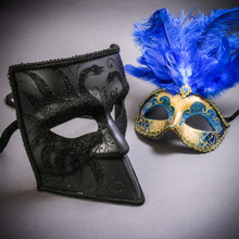 Black Glitter Full Face Bauta & Gold Mardi Gras Eye Mask with Top Blue Feather Couple Masks Set