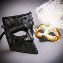 Black Glitter Full Face Bauta & Gold Mardi Gras Eye Mask with Top White Feather Couple Masks Set