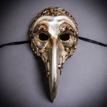 Plague Doctor Zanni Curved Long Nose Venetian Mardi Gras Mask Masquerade - Silver