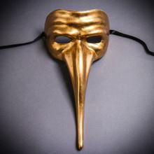 Zanni Long Nose Venetian Mardi Gras Mask Masquerade - Gold
