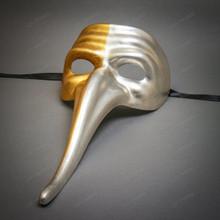 Zanni Long Nose Venetian Mardi Gras Mask Masquerade - Gold & Silver