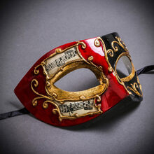 Unisex Musical Venetian Masquerade Eye Mask - Red Black