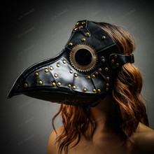 Halloween Steampunk Plague Doctor Mask Masquerade - Black with Model